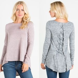 Lace-up Back Top. H. GREY